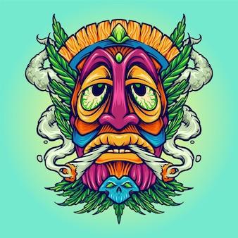 Tiki joint kush smoking weed cannabis illustraties