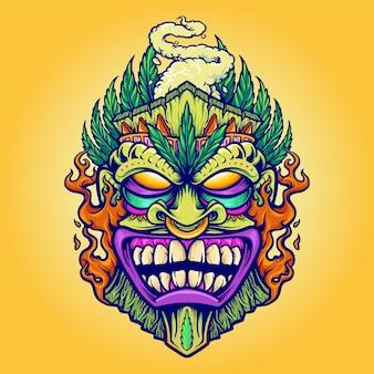 Tiki marijuana leaf en cloud vape illustraties