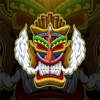 Tiki-masker esport mascotte-logo