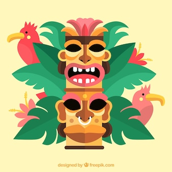 Tiki maskers, papegaaien en planten