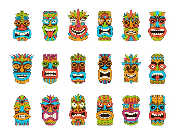 Tiki-maskers. tribal hawaii totem afrikaanse traditionele houten symbolen gekleurde masker illustraties