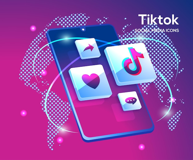 Tiktiok 3d social media iconen met smartphone-symbool