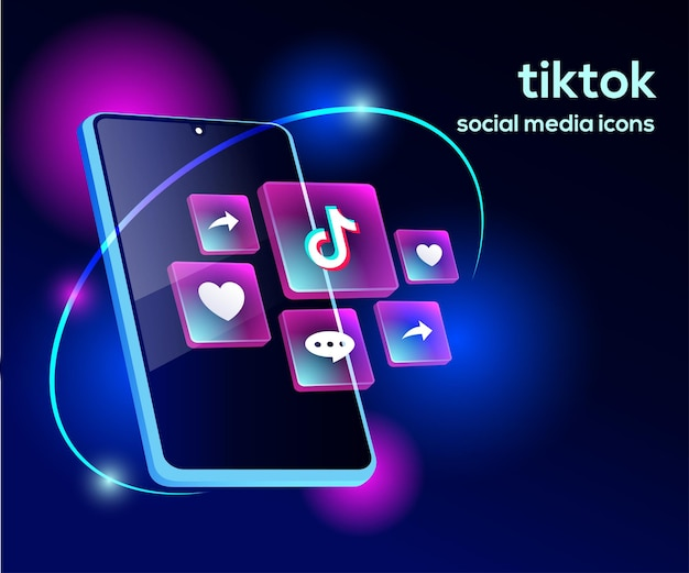 Tiktiok social media iconen met smartphone-symbool