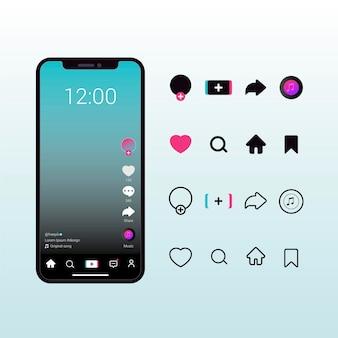 Tiktok app-interface met verzameling van knoppen