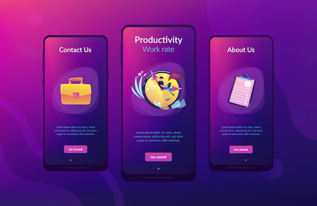 Time management app interface sjabloon.