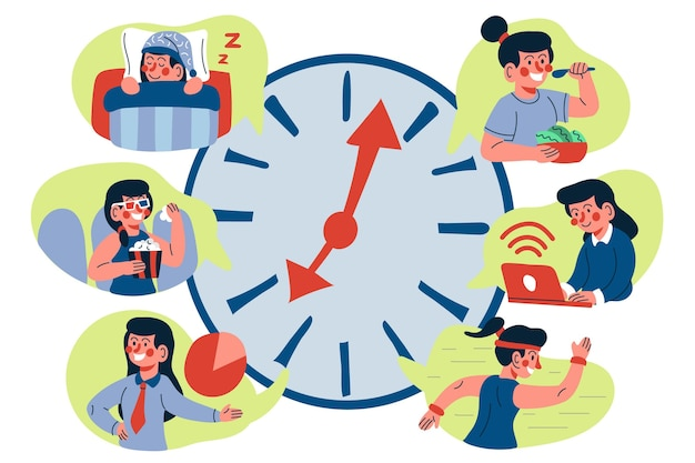 Time management concept hand getrokken