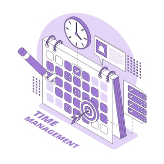 Time management concept isometrische illustratie