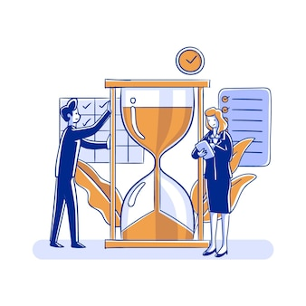 Time management concept mensen en zandloper Gratis Vector