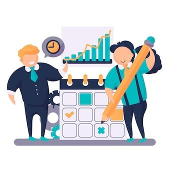 Time management concept mensen illustraties