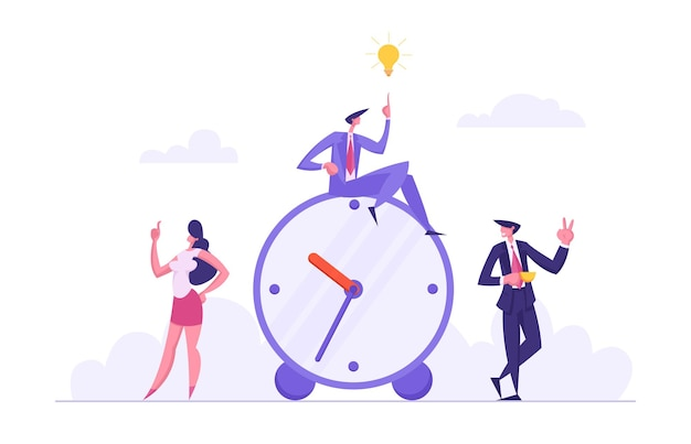 Time management concept met succesvolle team business characters-illustratie