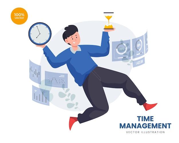 Time management concept met zakenman balanceren zandloper en klok timer en digitaal scherm