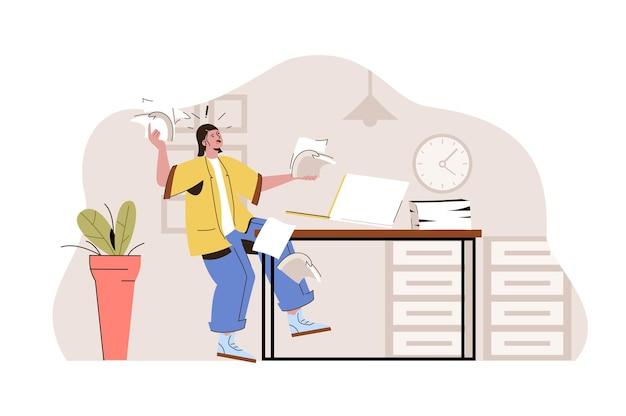 Time management concept werknemer verspreide documenten haast zich om het werk op tijd af te ronden