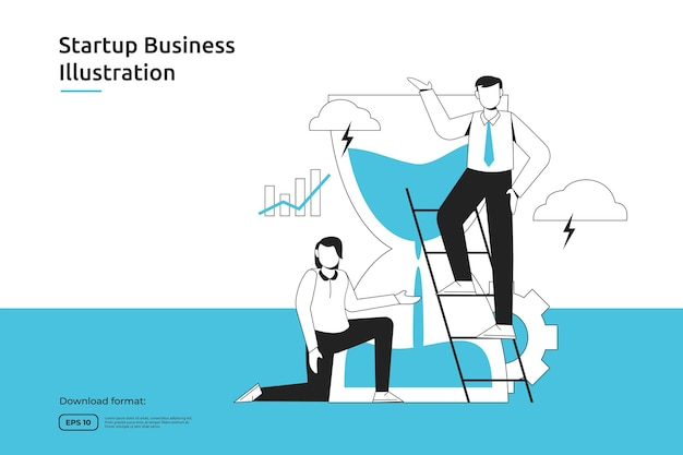 Time management en zakelijke deadline schema concept met zakenman en zand zandloper illustratie. startup lancering en investeringsonderneming. teamwork metafoor ontwerp web bestemmingspagina of mobiel