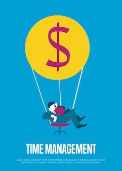 Time management illustratie met vliegende man