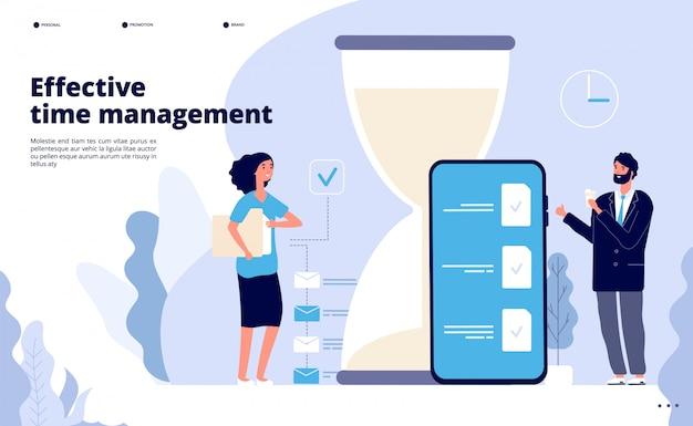 Time management landing. effectieve bedrijfsplanning, succesvolle teamworkoplossing.
