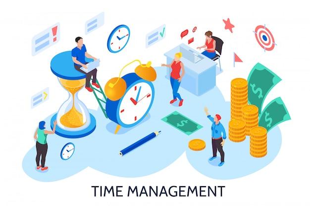 Time management ontwerpconcept voor planning en organisatie van de werktijd zonder onderbreking en uitstelgedrag isometrisch