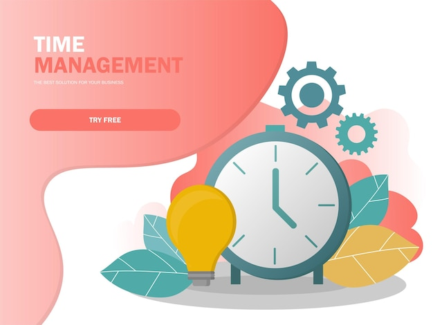 Time management planning en controle concept voor effiecient succesvolle en winstgevende zakelijke samenstelling poster vectorillustratie in moderne kleuren