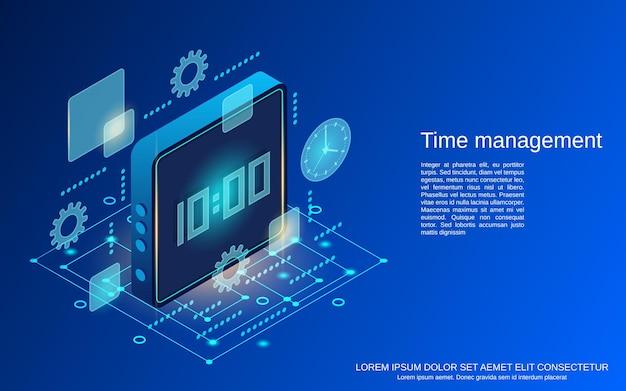 Time management platte isometrische vector concept illustratie