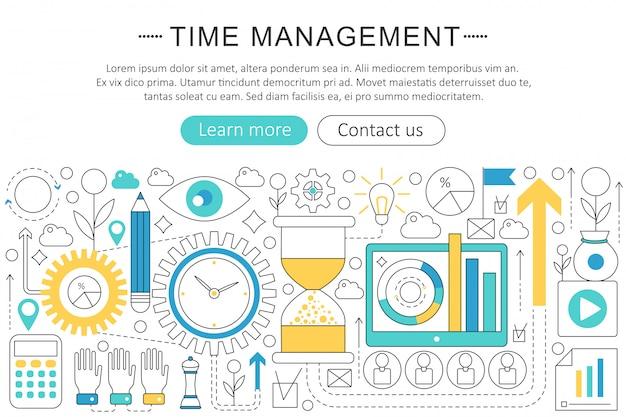 Time management platte lijn concept