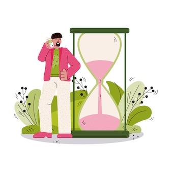 Time management poster - cartoon man kijken naar zandloper