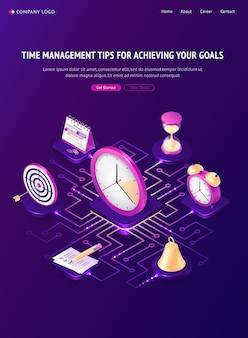 Time management tips isometrische bestemmingspagina, werkorganisatie, concept voor het behalen van doelen.