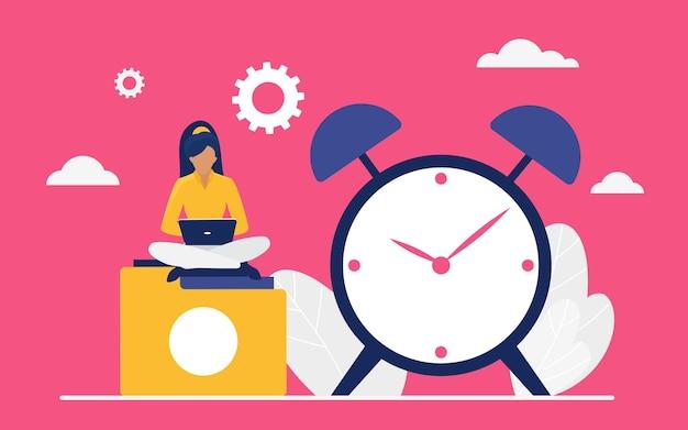 Time management werkconcept zakelijke kantoormedewerker of manager zit naast de klok