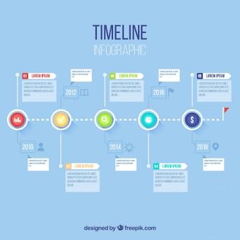 Timeline infographic met cirkels en vierkanten