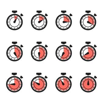Timer iconen vector. stopwatch set geïsoleerd op een witte achtergrond