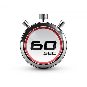 Timer pictogram. 60 sec. realistische afbeelding