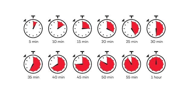 Timer pictogram vector set klok stopwatch geïsoleerd op een witte achtergrond kooktijd label eps