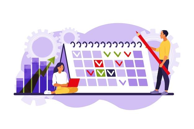 Timing en projectplanning. concept van timemanagement, werkplanningsmethode, organisatie van dagelijkse doelen en prestaties.