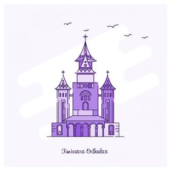Timisoara orthodax skyline van de skyline met paarse stippellinie