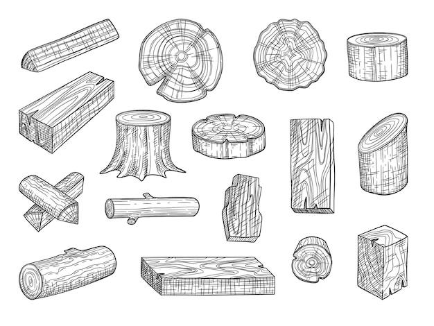 Timmerhout. houten stammen tak eiken gestapeld logboek uit boom hand getrokken set.