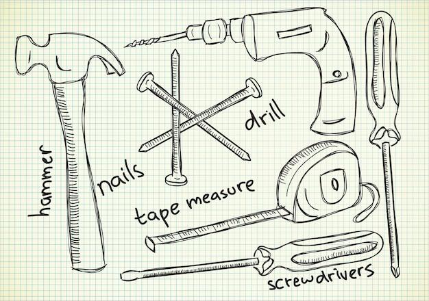 Timmerman gereedschappen in doodle stijl