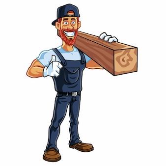 Timmerman man cartoon mascot karakter ontwerp vectorillustratie