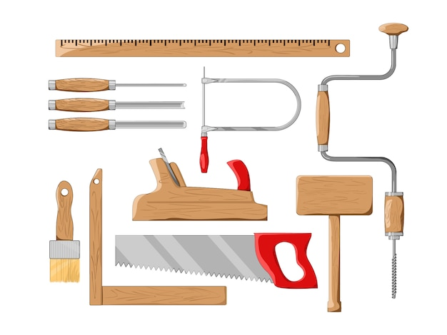 Timmerman tools set. illustratie.