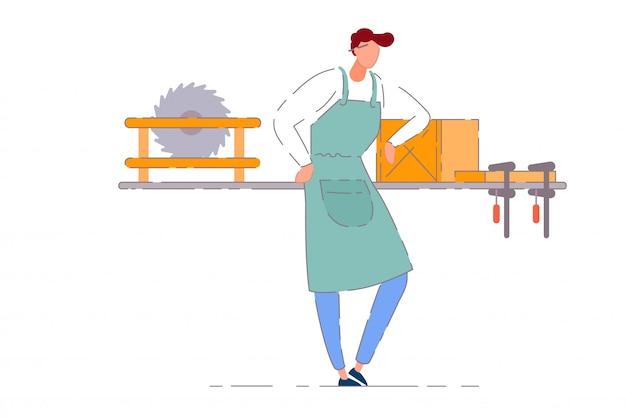 Timmerman werkplaats eigenaar. professionele timmerman werknemer man in schort werken op werkbank met cirkelzaag tool en houten plank. timmerwerkplaats bedrijfseigenaar persoon