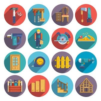 Timmerwerk pictogrammen plat