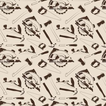 Timmerwerk tools naadloze patroon ontwerp