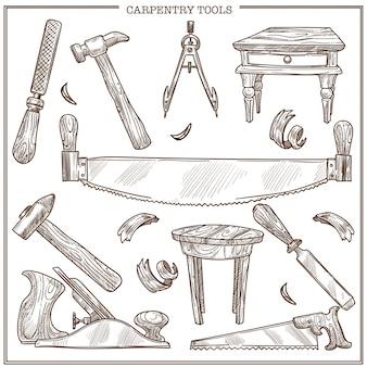 Timmerwerkhulpmiddelen schetspictogrammen die voor meubilairreparatie en timmermanshoutwerk worden geplaatst