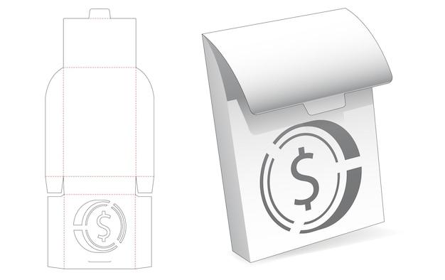 Tinnen flip-box met gestencilde gestanste dollarmuntsjabloon