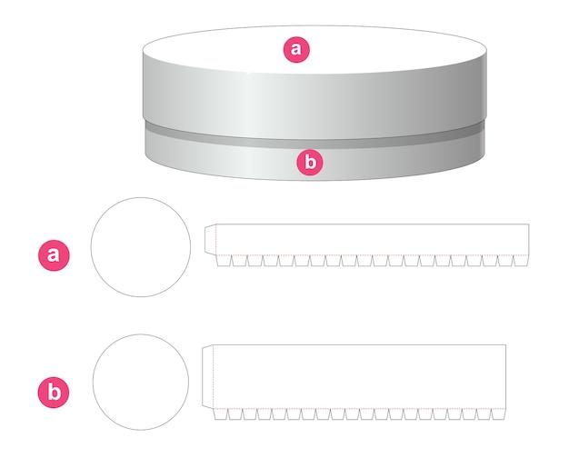 Tinnen ronde doos en deksel gestanst sjabloon Premium Vector