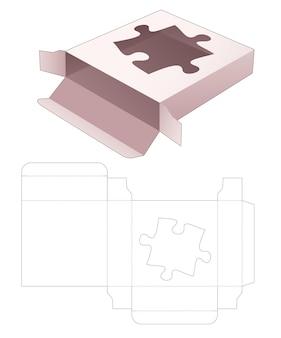 Tinnen vierkante doos met gestanste sjabloon in de vorm van een venster
