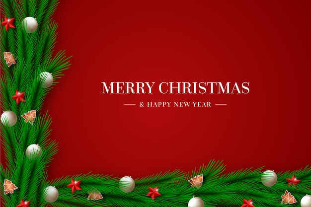 Tinsel kerst achtergrond met decoraties