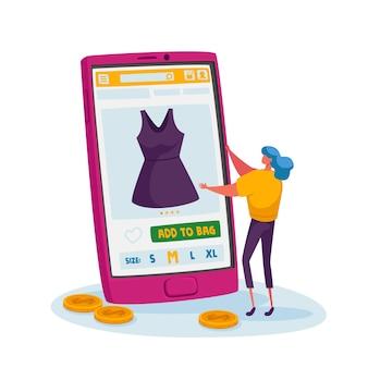 Tint vrouwelijk klantpersonage kies jurk op enorme smartphone