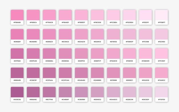 Tinten roze kleurenpalet met hex