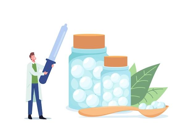 Tiny homeopaat dokter karakter met enorme druppelaar staan in de buurt van glazen flessen met homeopathie medicijnen voor homepathische behandeling in kliniek, ziekenhuis gezondheidszorg. cartoon mensen vectorillustratie