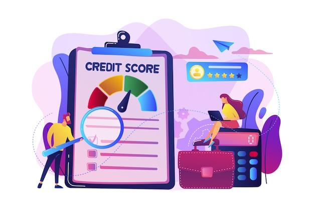 Tiny people-analisten die het vermogen van een potentiële schuldenaar evalueren om de schuld te betalen. kredietbeoordeling, kredietrisicobeheersing, concept van kredietbeoordelingsbureau.