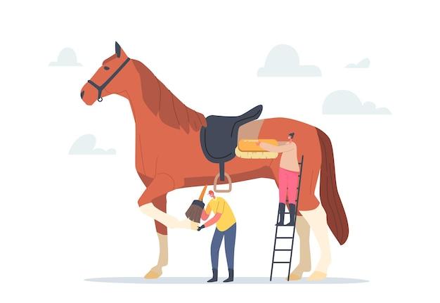 Tiny stableman en woman characters verzorging van enorme raszuivere paarden reinigen van huid en hoeven met borstel bereid de hengst voor op een paardensportcompetitie of wedstrijd. cartoon vectorillustratie