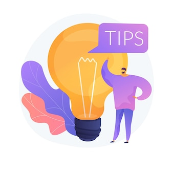 Tips en creatieve ideeën. bedrijfsinnovatie geïsoleerd plat ontwerpelement. probleemoplossing, advies, brainstormen. mannelijk karakter denken.